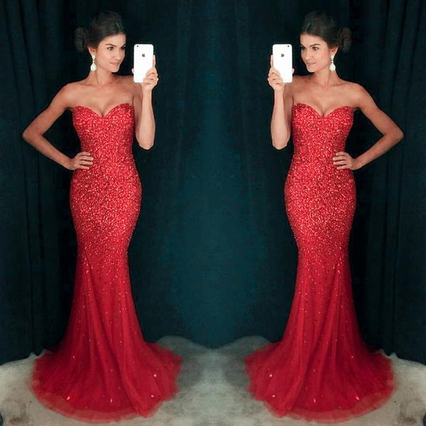 Sweetheart Mermaid Long Prom Dress with Beading Fashion Formal Dress YDP0041