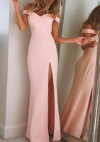 Off the Shoulder Long Prom Dress with Slit Sweet 16 Dance Dress Fashion Winter Formal Dress YDP0206