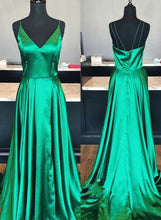 Load image into Gallery viewer, V-neck A-line Long Prom Dress Custom-made School Dance Dress Fashion Graduation Party Dress YDP0476
