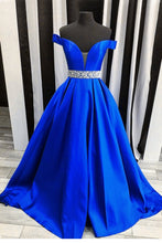 Load image into Gallery viewer, Off the Shoulder Royal Blue Long Prom Dress School Dance Dress Fashion Winter Formal Dress YDP0283