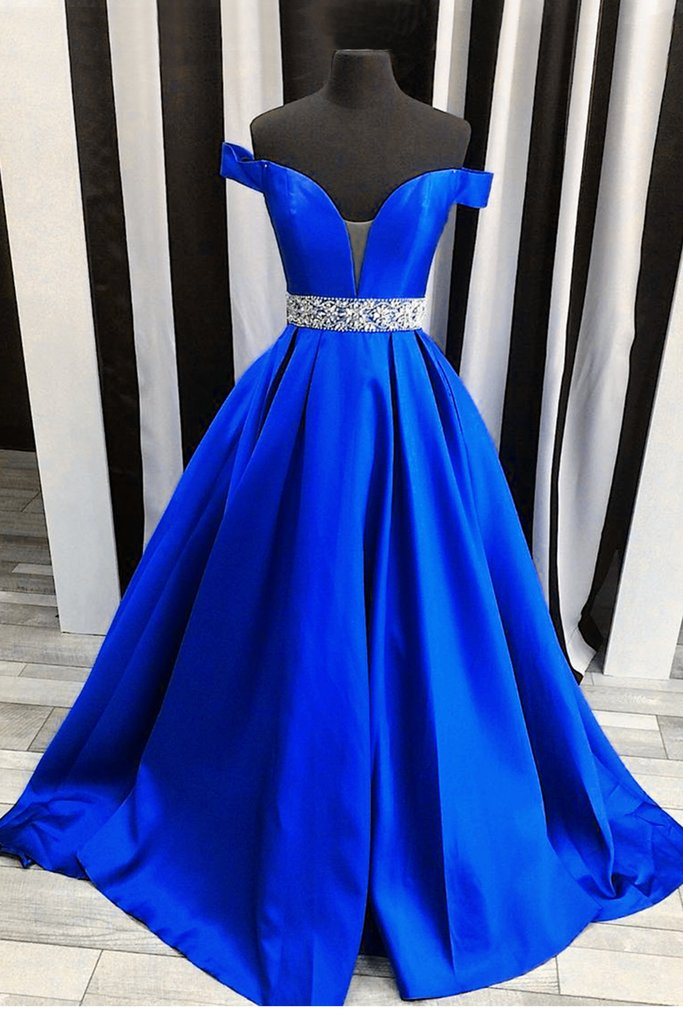 Off the Shoulder Royal Blue Long Prom Dress School Dance Dress Fashion Winter Formal Dress YDP0283