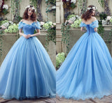 Off The Shoulder Princess Ball Gown Long Prom Dress  School Dance Dress Fashion Winter Formal Dress YDP0245