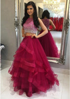Two Pieces Ball Gown Long Prom Dress With Beading School Dance Dress Fashion Winter Formal Dress YDP0247