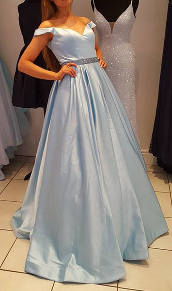 Off Shoulder Prom Dress With Beading Long 8th Graduation Dress Custom-made School Dance Dress  YDP0658