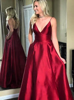 Simple V-neck Long Prom Dress Custom-made School Dance Dress Fashion Graduation Party Dress YDP0432