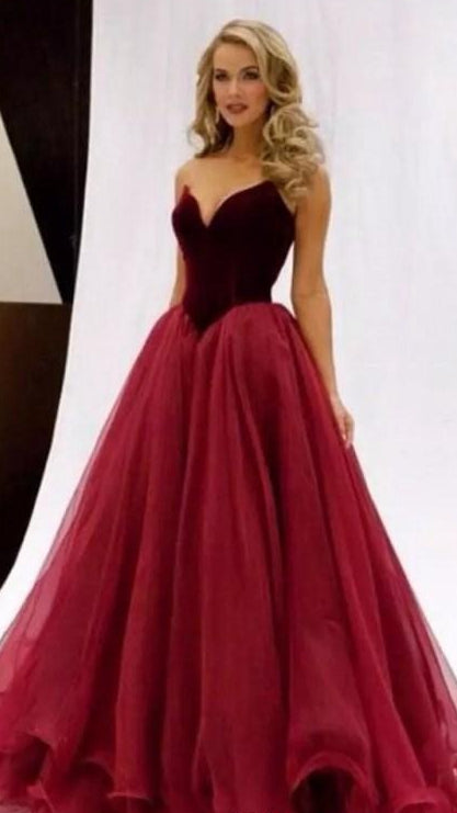 Strapless Ball Gown Long Prom Dresses Custom-made School Dance Dress Fashion Graduation Party Dress YDP0478