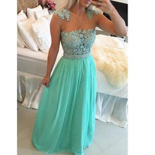 Load image into Gallery viewer, A-line Long Prom Dress with Applique and Pearls Custom Made Mermaid Formal Dress Fashion Winter Dance Dress YDP0150