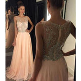A-line Long Prom Dress,Beading Wedding Party Dress,Popular Cocktail Dress, YDP0003