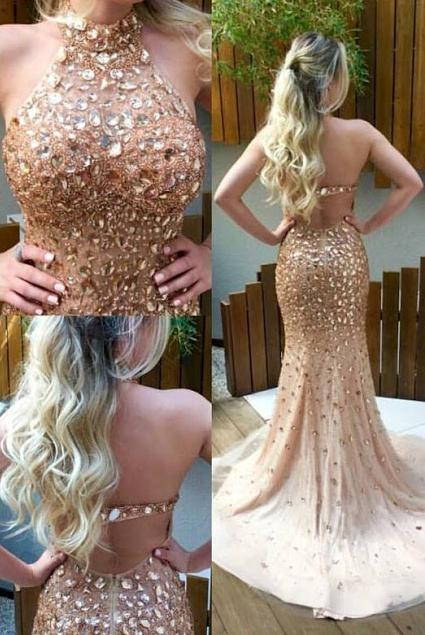 Backless Mermaid Long Prom Dress with Full Beading Fashion Wedding Party Dress YDP0033