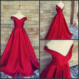 Off the Shoulder Ball Gown Satin Long Prom Dress School Dance Dress Fashion Winter Formal Dress YDP0248