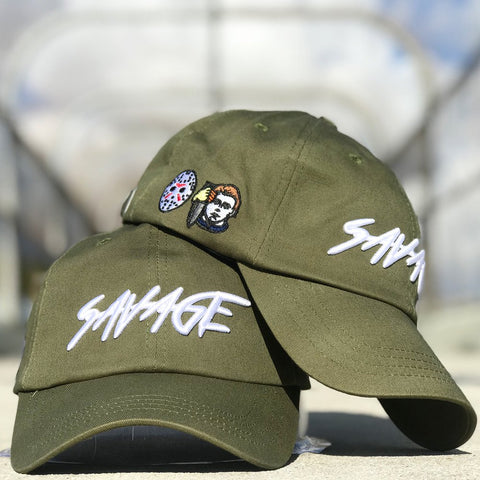 Olive & White Cotton Savage Hat