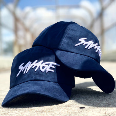 Navy Blue Suede Savage Hat