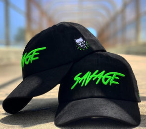 Black & Neon Green Suede Savage Hat