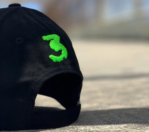 Black & Lime Suede Savage Hat with strap enclosure
