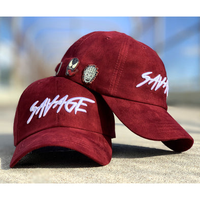 Maroon & White Savage Dad Cap