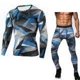 Compression Shirt & Pants Set Bodybuilding Tight Long Sleeves Suit