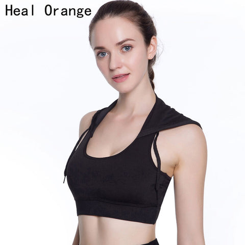 Hooded Running Yoga Bra Women Brand Sport Bras With Pad