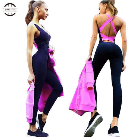Cross back Fitness Tights Jumpsuits Yoga Bodysuit