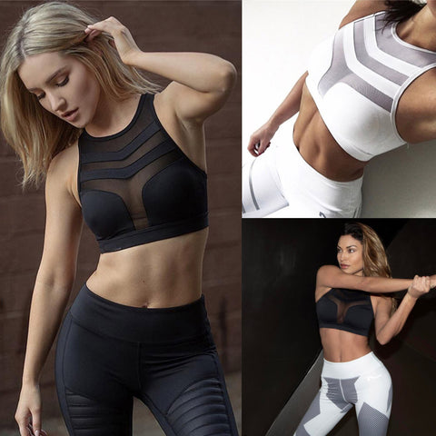 Sport Waist Yoga Bra Pants Workout Tank Tops Stretch Seamless