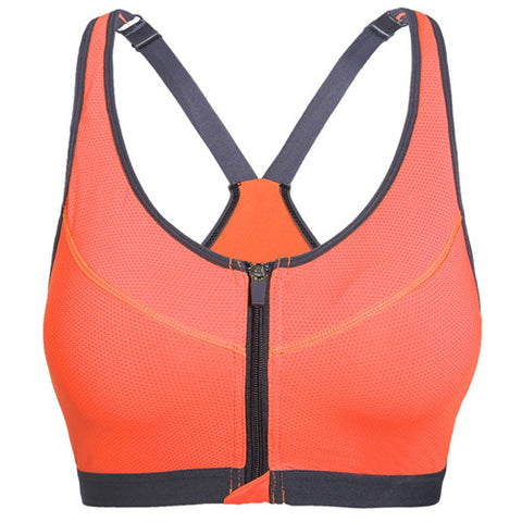 Zipper Sports Bra Women Fitness Yoga Bra Push Up Padded