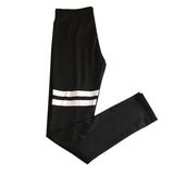 Leggings Slim Stretch Black High Waist Leggings White stripe