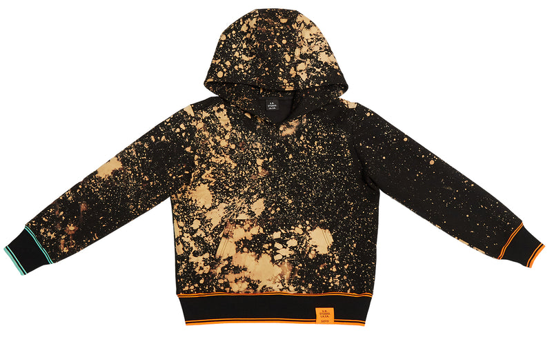 HAND-BLEACHED SOTO SLANTED PULLOVER HOODIE WITH MULTI RIB