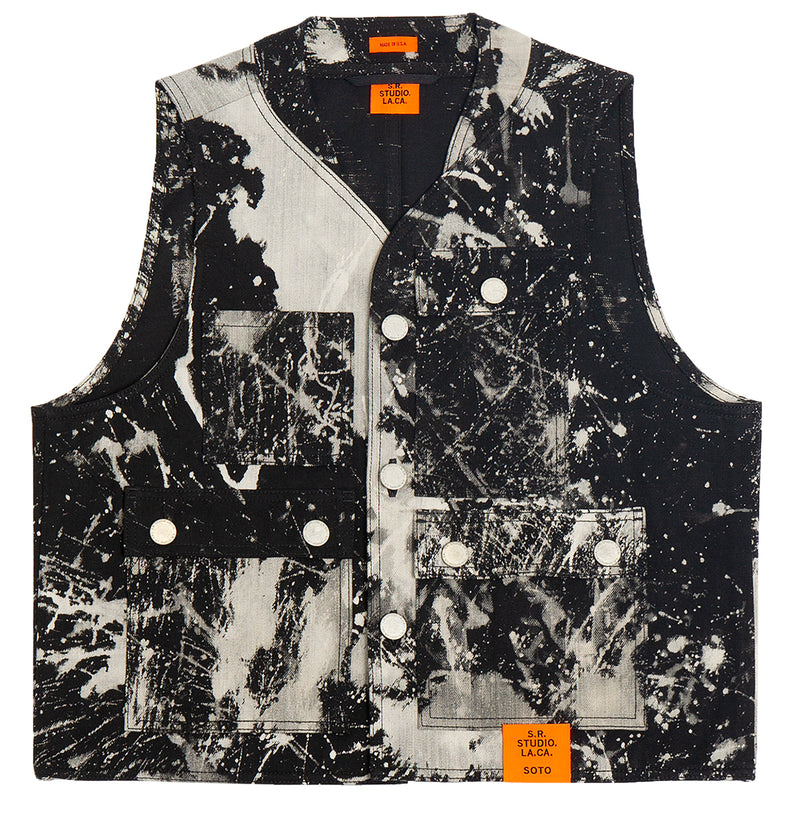 HAND-BLEACHED SOTO PHOTO VEST S.R. STUDIO. LA. CA. BY STERLING RUBY