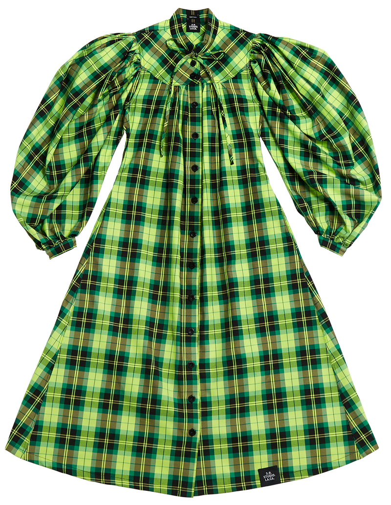 GATHERED PLAID DRESS
