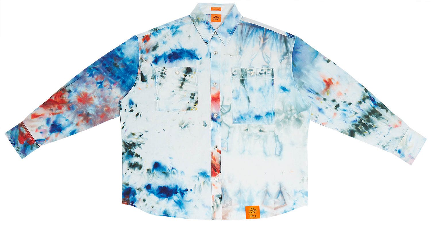 HAND-DYED T.R.B. SOTO OVERSIZED LONG SLEEVE BUTTON DOWN SHIRT S.R. STUDIO. LA. CA. BY STERLING RUBY