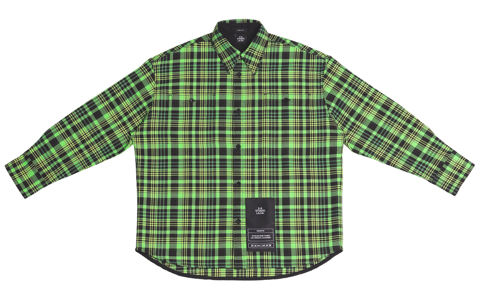 MEN'S OPEN-WEAVE CHECK OVERSIZED BUTTON DOWN SHIRT