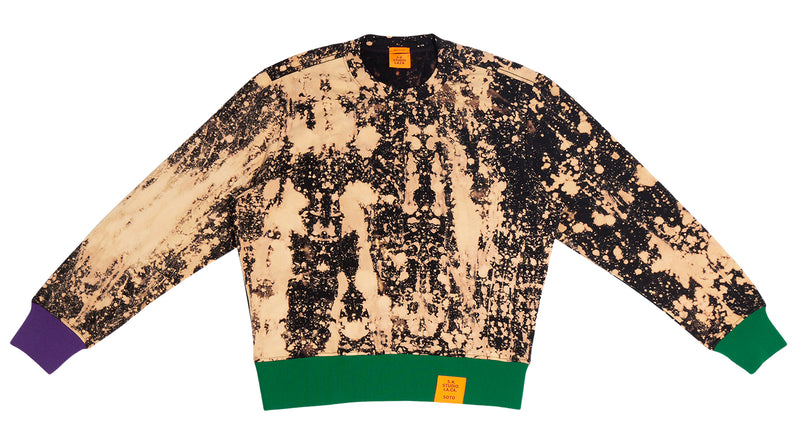 HAND-BLEACHED SEPIA SOTO SWEATSHIRT WITH CONTRAST RIB