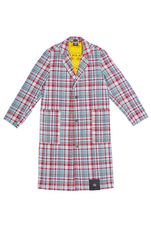 OPEN-WEAVE CHECK LONG TRENCH COAT