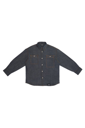 MEN'S OVERSIZED LONG SLEEVE BUTTON DOWN SHIRT WITH CONTRAST STITCHING