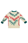 HAND-KNIT FUZZY LONG CREWNECK SWEATER