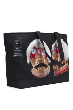 ED. 50 JUMBO STRUCTURED CASUAL TOTE BAG WITH WHITE HAIRED RED SKULL