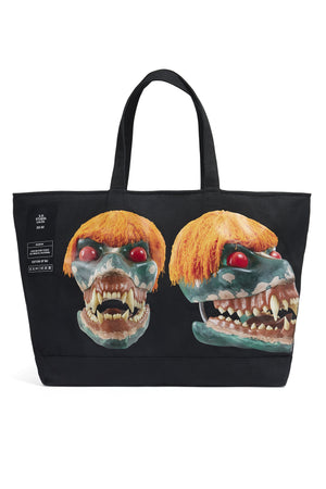 ED. 50 JUMBO STRUCTURED CASUAL TOTE BAG WITH ORANGE HAIRED GREEN SKULL