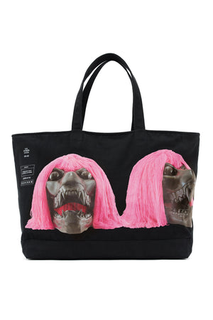 ED. 50 JUMBO STRUCTURED TOTE BAG WITH PINK HAIRED BLACK SKULL