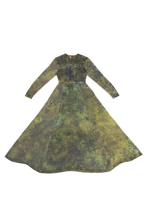 HAND-DYED SILK PRAIRIE DRESS EMERALD GREEN S.R. STUDIO. LA. CA. BY STERLING RUBY