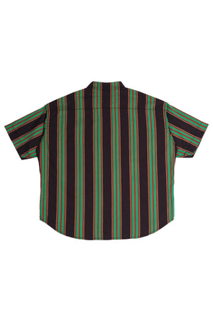 MEN'S B.G.R STRIPE OVERSIZED SHORT SLEEVE BUTTON DOWN SHIRT