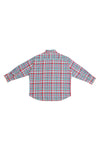 OPEN-WEAVE CHECK OVERSIZED BUTTON DOWN SHIRT