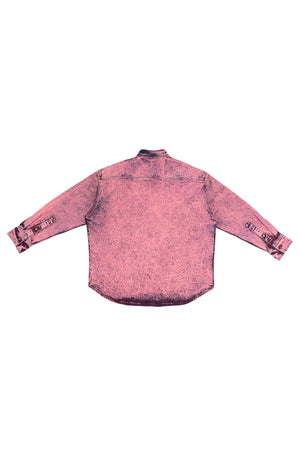 LONG SLEEVE BUTTON DOWN SHIRT WITH MINERAL WASH HOT PINK S.R. STUDIO. LA. CA. BY STERLING RUBY