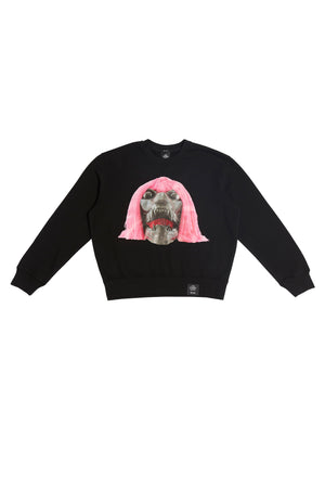 ED. 50 CREWNECK SWEATSHIRT WITH PINK HAIRED BLACK SKULL