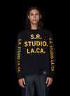 BASIC LONG SLEEVE T-SHIRT WITH S.R.S. LOGO/VAMPIRE SUNRISE GRAPHIC - S.R. STUDIO. LA. CA. STERLING RUBY CLOTHING