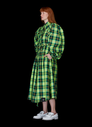 GATHERED PLAID DRESS - S.R. STUDIO. LA. CA. STERLING RUBY CLOTHING