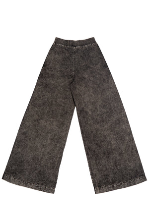WIDE LEG DENIM PANTS WITH MINERAL WASH