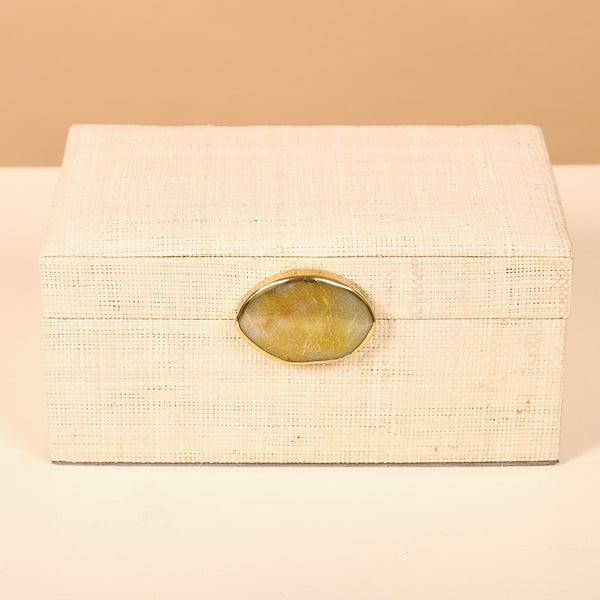 Karuna Raffia Jewelry Box with Agate Stone