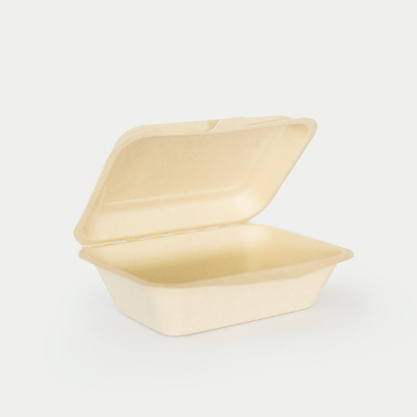 600mL Clamshell - Sugarcane Bagasse Food Container