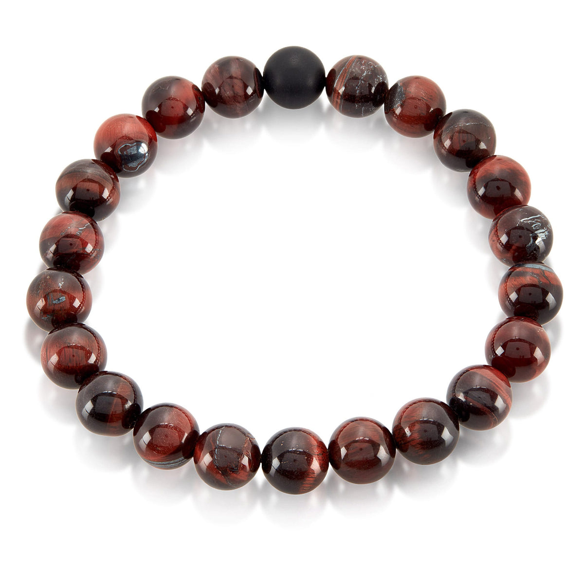 Red Tiger Eye and Matte Onyx Bead Stretch Bracelet (10mm)