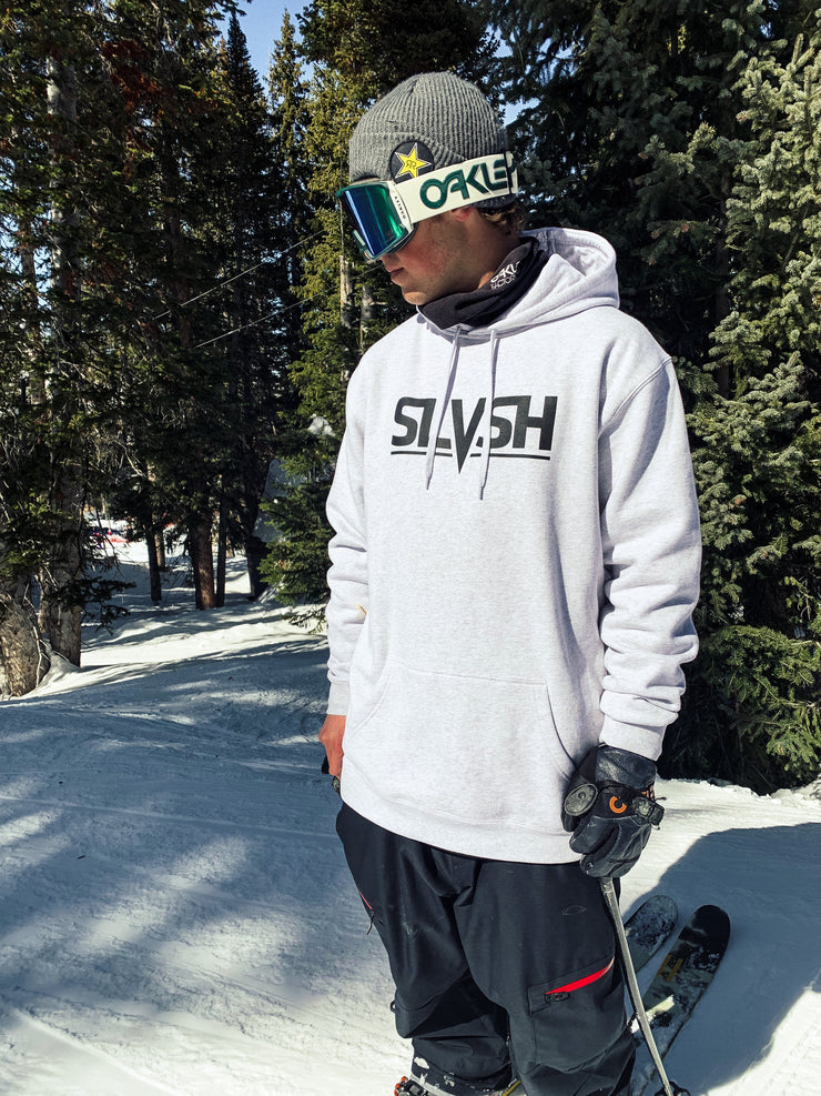 SLVSH Logo Hoodie - Riding Fit | Heather White