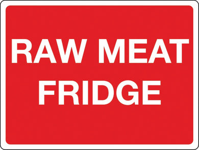 Raw meat fridge sign